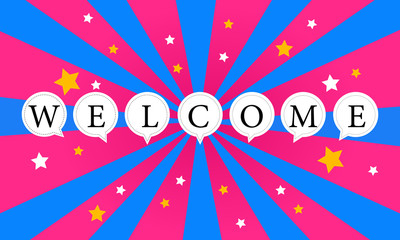 Welcome word bubble and star vector illustration