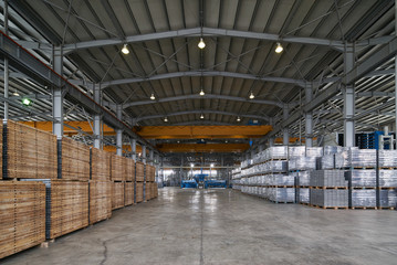Storage hall or warehouse interior of factory