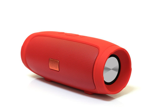 red bluetooth speaker isolated on white background