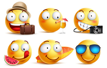Summer smileys vector set with facial expressions. Yellow smiley face emoticons with summer vacation and travel outfits and elements isolated in white background. Vector illustration.