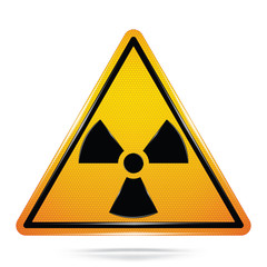 Vector and illustration of graphic style, Radioactive symbol, Yellow triangle Warning Dangerous icon on white background, Attracting attention Security First sign, Idea for presentation, EPS10.