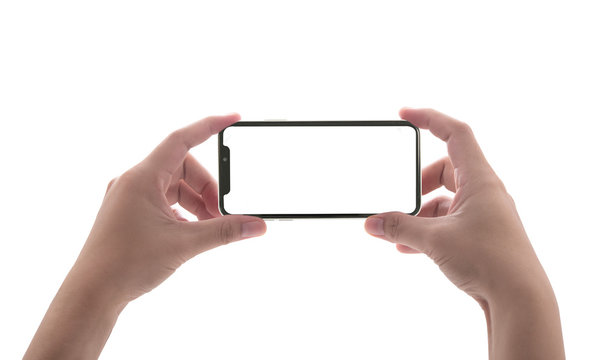 Two hands holding big screen smart phone, clipping path