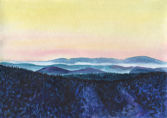 Watercolor Painting. Colorful mountain landscape with a haze at sunset. The hills are covered with snow and forest. The golden sky. Ridges of the mountains stretching into the distance.