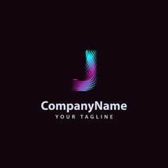 Letter J modern Wave line Logo design template.