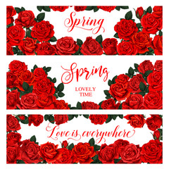 Vector spring roses flowers bouquets banners