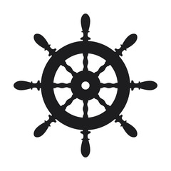 Ship steering wheel icon on white background