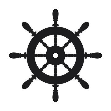 Ship steering wheel icon on white background