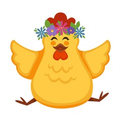 Cartoon chicken chick vector funny character with flowers circlet wreath