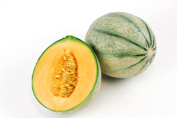 close up on fresh melon isolated on the white background