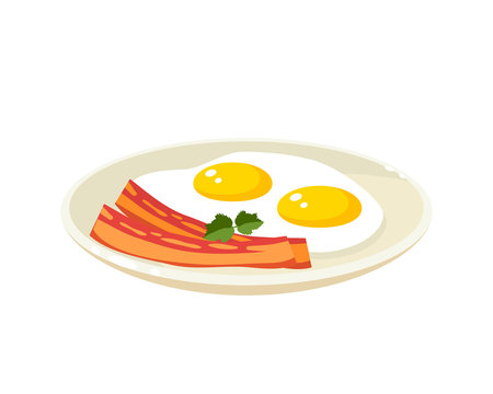 Breakfast, delicious start to the day. Plate with fried eggs, slices of bacon. Vector illustration cartoon flat icon isolated on white.