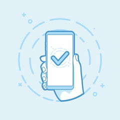 Checkmark on smartphone screen. Hand holding smartphone icon in line style. Use in Web Project and Applications. Outline object