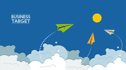 flying paper plane cartoon on blue sky background