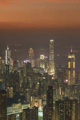 Fototapete - Skyline of Hong Kong city at dusk