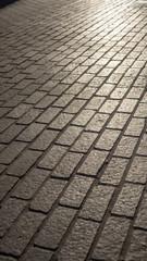 Granite brick road in sunset