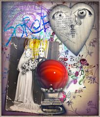 Sfondo surreale con palla di cristallo,cuore e vecchia fotografia