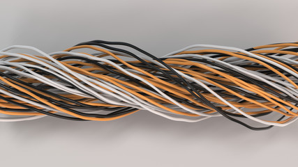 Twisted black, white and orange cables and wires on white surface