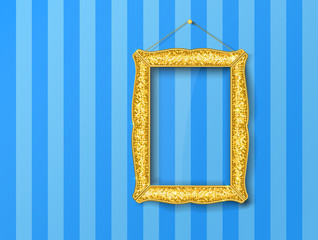 Gold vintage picture frame on blue  wall