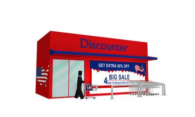 Discounter aus Seitenansicht mit Sale-Werbung für den 4.Juli auf weiß isoliert. 3d render