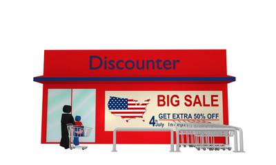 Discounter aus Vorderansicht mit Werbung für den amerikanischen unabhängigkeitstag auf weiß isoliert. 3d render