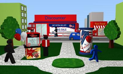 Park mit Blick auf einen Discounter mit Werbung für den amerikanischen unabhängigkeitstag. 3d render