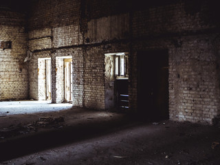 interior of the abandoned mansion, room with window