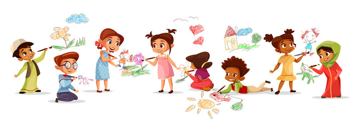 Children of different nationality drawing pictures with chalk pencils vector illustration of cartoon kids kindergarten. Flat design boys and girls with color pencils draw pictures on walls and floor Wall mural