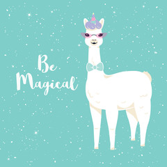 Cute cartoon llama character with No drama llama motivational quote