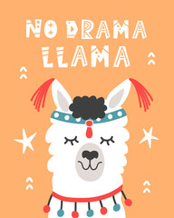 No Drama Llama. Hand Drawn Poster with Cartoon Cute Alpaca