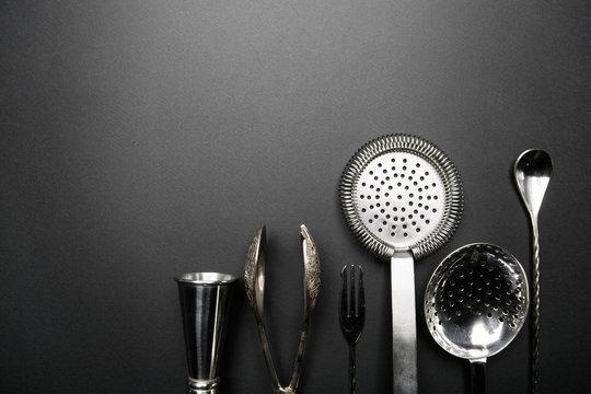 Bartender equipment for making cocktail. Jigger, strainer, spoon. Food and beverages concept. Food and beverages concept