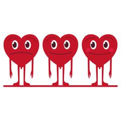 Cute cartoon emoticon hearts set, happy and sad