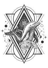 Vector creative geometric ocean dolphin tattoo art style design