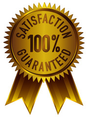 100% Satisfaction Guaranteed badge icon in gold