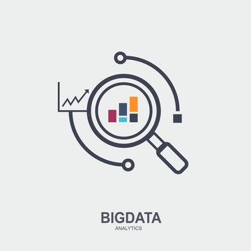 Big data Modern flat line vector illustration icon design. creative outline concept simple symbol, magnify scanning data analysis and graph pictogram.