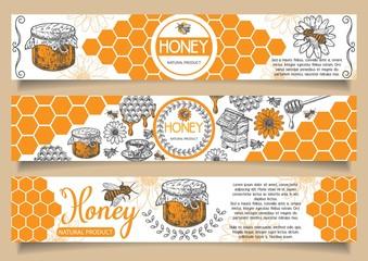 Bee natural honey vector hand drawn horizontal banner set