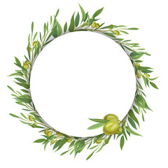 Round template with olive branches