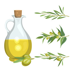 Bottle with olive oil and olive branches