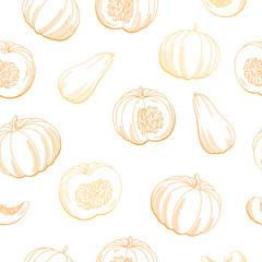 Pumpkin color orange graphic seamless pattern sketch background illustration vector