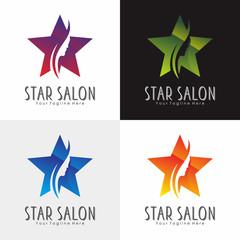 Star Salon Beauty Logo Vector Silhouette