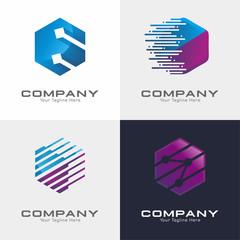 Hexagon Tech Logo Vector Set