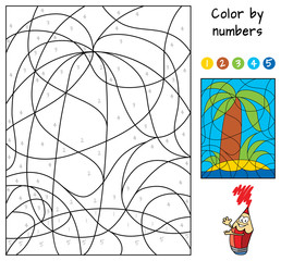 A small tropical island with a palm tree. Color by numbers. Educational puzzle game for children. Coloring book. Cartoon vector illustration