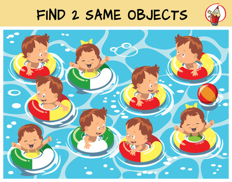 Find two the same swimming kids in the picture. Educational matching game for children. Cartoon vector illustration