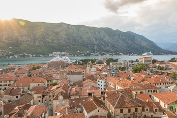 View of old town roofs in a Bay of Kotor from Lovcen mountain in Montenegro.