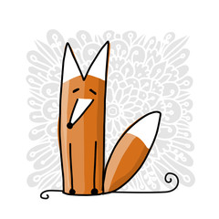 Cute red fox, sketch for your design