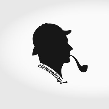Sherlock Holmes Vector Silhouette. Smoking Pipe and Hunting Hat Separately