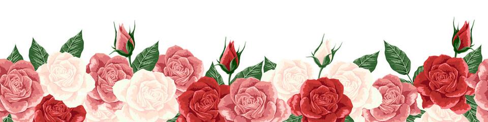 クラシカルな薔薇のボーダー ロゼ系