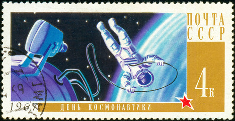 Ukraine - circa 2018: A postage stamp printed in Soviet Union show Cosmonaut A. A. Leonov in Space. Series: Cosmonautics Day. Circa 1967