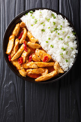 Delicious Thai chicken panang curry with garnish of rice close-up. Vertical top view from above