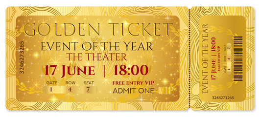 Golden ticket, golden token (tear-off ticket, coupon) with curve pattern. Useful for any festival, party, cinema, event, entertainment show