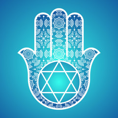 Hamsa with the seal of Solomon. Arabic and Jewish amulet. Vector illustration.