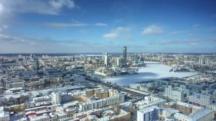 Fotobehang - City of Ekaterinburg aerial panorama on winter day. 4K UHD timelapse.